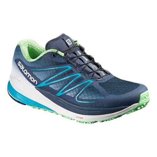 Womens Salomon Sense Propulse Trail Running Shoe - Blue/White/Green 8