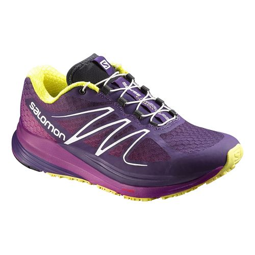 Womens Salomon Sense Propulse Trail Running Shoe - Purple/Yellow 7.5