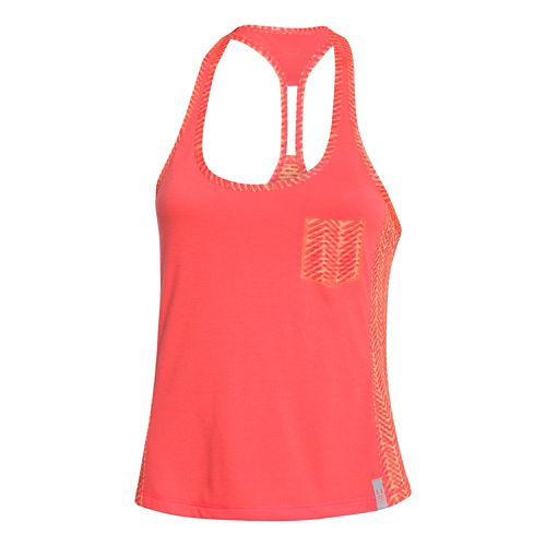 Womens Under Armour Printed Fly By Crop Tank Technical Tops - After Burn/Afterglow XL