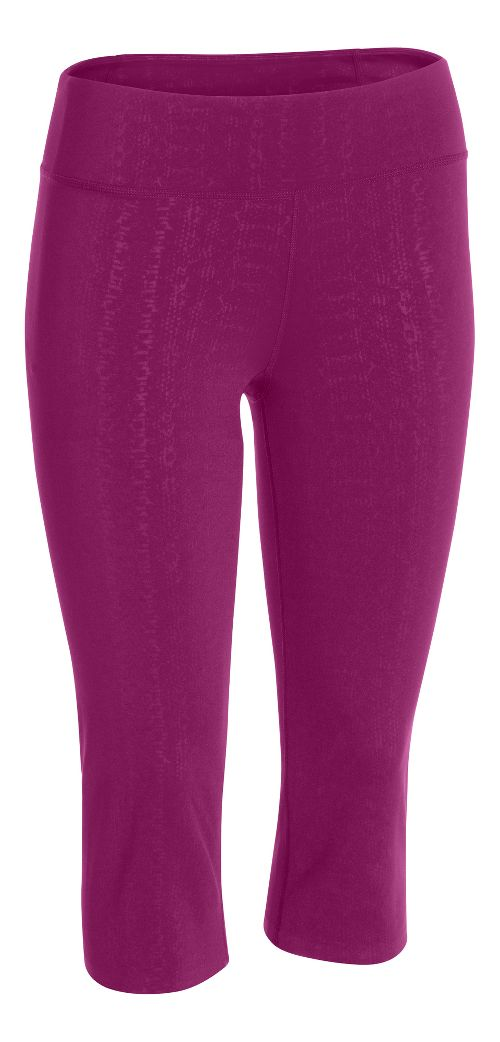 Womens Under Armour Studio City Hopper Printed Capri Tights - Aubergine/Lizard M