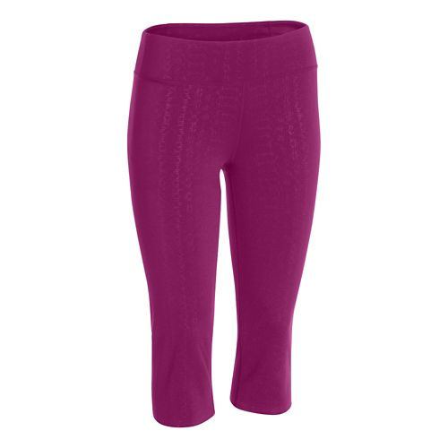 Womens Under Armour Studio City Hopper Printed Capri Tights - Aubergine/Lizard L