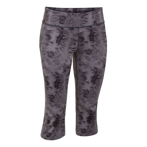 Womens Under Armour Studio City Hopper Printed Capri Tights - Greenwood/Lizard XL
