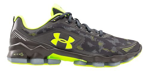 Mens Under Armour Micro G Nitrous Running Shoe - Charcoal/Yellow 7.5