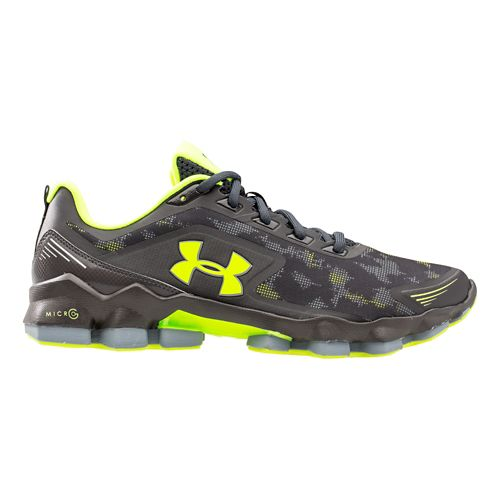Mens Under Armour Micro G Nitrous Running Shoe - Charcoal/Yellow 7