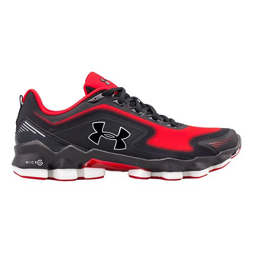 Mens Under Armour Micro G Nitrous Running Shoe - Black/Red 7.5
