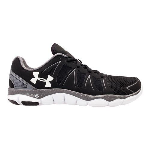 Mens Under Armour Micro G Engage II Running Shoe - Lead/High Vis Yellow 16