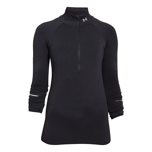 Womens Under Armour Run Seamless Long Sleeve Half Zip Technical Tops - Black XS