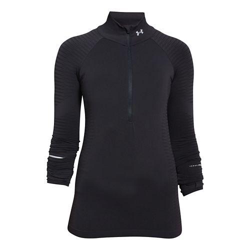 Womens Under Armour Run Seamless Long Sleeve Half Zip Technical Tops - Black XL