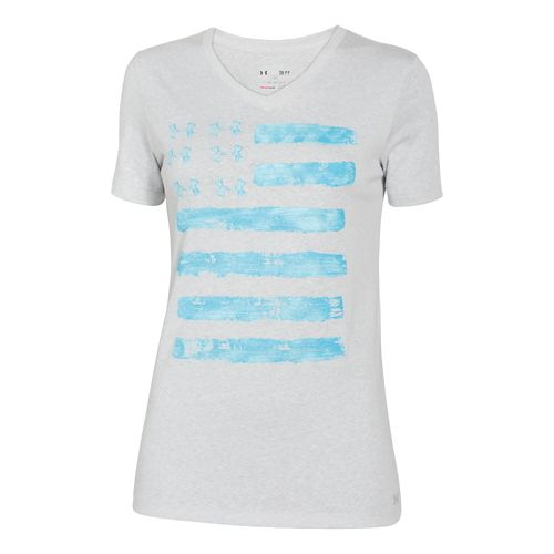 Womens Under Armour Charged Cotton Painted Flag V-Neck Short Sleeve Technical Tops - Silver ...