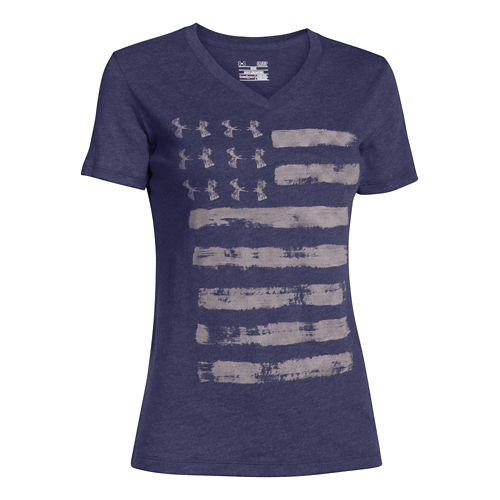 Womens Under Armour Charged Cotton Painted Flag V-Neck Short Sleeve Technical Tops - Faded Ink ...