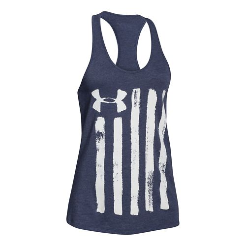 Womens Under Armour Charged Cotton Painted Flag Tank Technical Tops - Faded Ink S