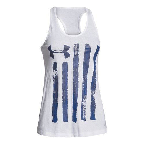 Womens Under Armour Charged Cotton Painted Flag Tank Technical Tops - White XL