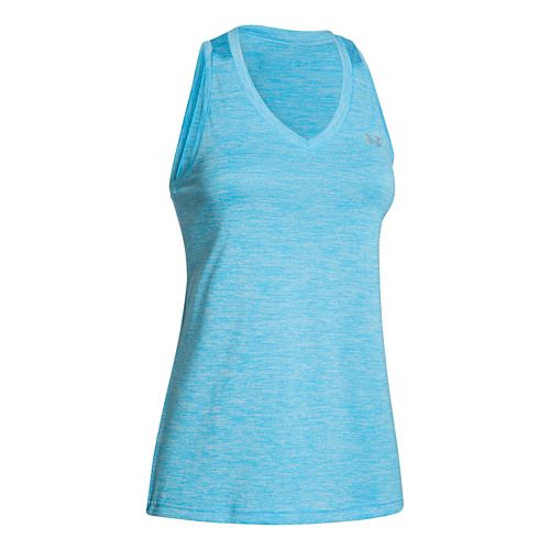 Womens Under Armour Twisted Tech Tank Technical Tops - Island Blues M