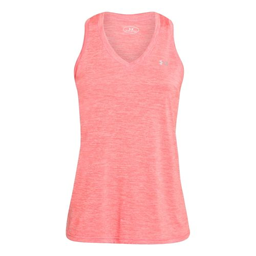 Womens Under Armour Twisted Tech Tank Technical Tops - After Burn M