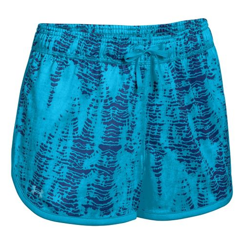 Womens Under Armour Tech Printed Lined Shorts - Blue/Silver XS