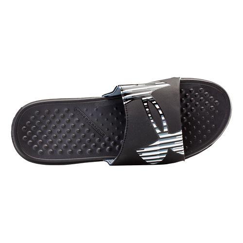 Mens Under Armour Strike Zag Sandals Shoe - Black/Black 12