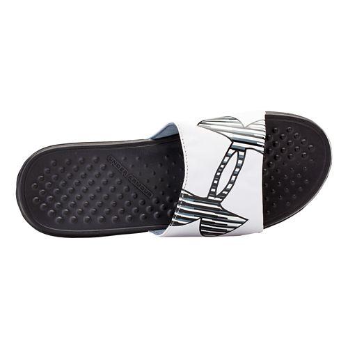 Mens Under Armour Strike Zag Sandals Shoe - Black/White 13