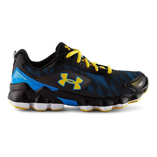 Kids Under Armour BPS Nitrous Running Shoe - Gravel/Bolt Orange 2.5