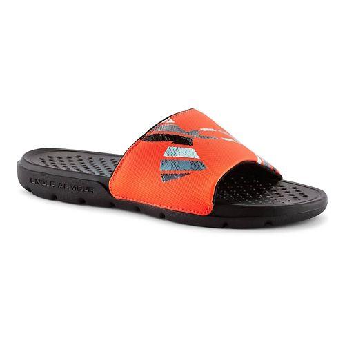 Kids Under Armour Strike Grid Sandals Shoe - Black/Graphite 12