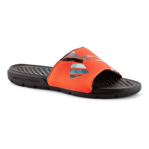 Kids Under Armour Strike Grid Sandals Shoe - Black/Bolt Orange 3
