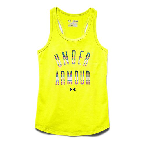 Kids Under Armour Strip Logo Tank Technical Tops - Yellow Ray YS