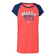 Kids Under Armour Watch Out Boys Raglan Short Sleeve Technical Tops