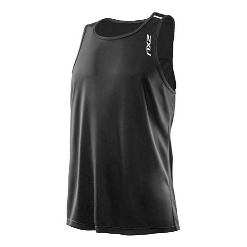 Mens 2XU Ice X Singlet Tank Technical Tops - Black/Black M