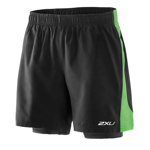 Mens 2XU Pace Compression 2 in 1 Shorts - Black/Fairway Green L
