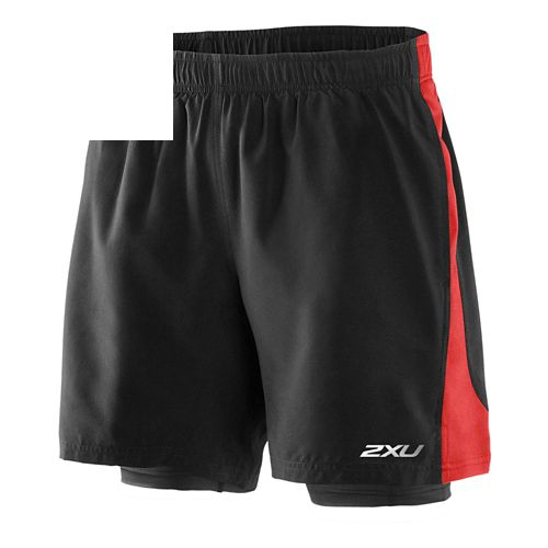 Mens 2XU Pace Compression 2 in 1 Shorts - Black/Scarlet S
