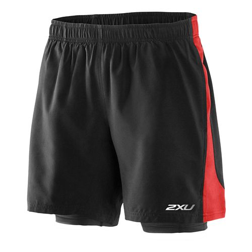 Mens 2XU Pace Compression 2 in 1 Shorts - Black/Scarlet XXL