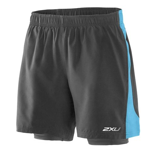 Mens 2XU Pace Compression 2 in 1 Shorts - Charcoal/Amalfi XL
