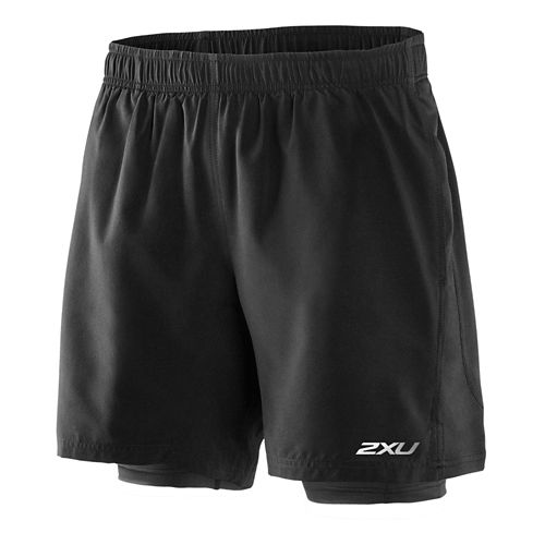 Mens 2XU Pace Compression 2 in 1 Shorts - Black/Scarlet XL