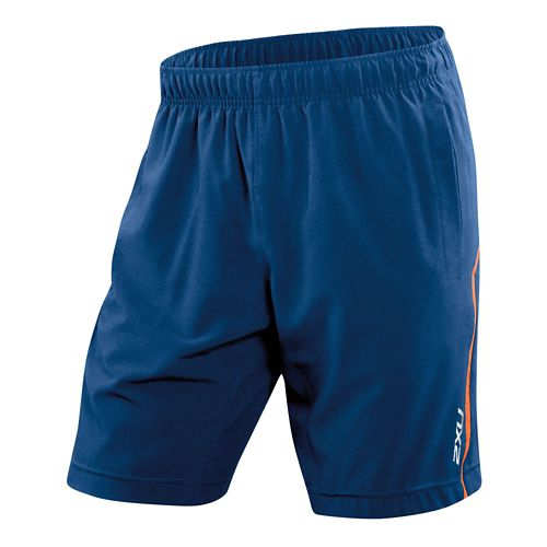 Mens 2XU Balance Lined Shorts - Costal Blue/Orange L