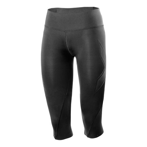 Womens 2XU XTRM Compression 3/4 Capri Tights - Black/Black L
