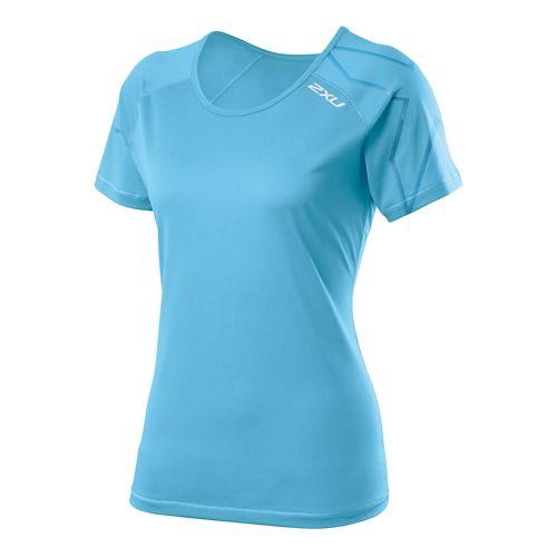 Womens 2XU GHST Short Sleeve Technical Tops - Amalfi/Amalfi XS