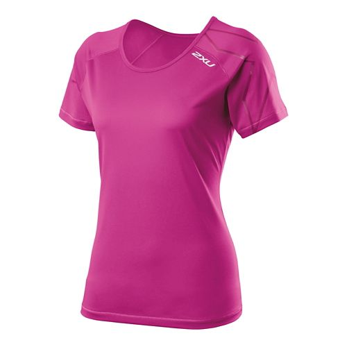 Womens 2XU GHST Short Sleeve Technical Tops - Magenta/Magenta M