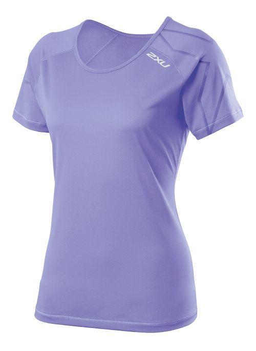Womens 2XU GHST Short Sleeve Technical Tops - Amethyst/Amethyst L