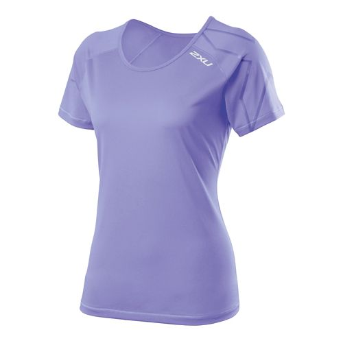 Womens 2XU GHST Short Sleeve Technical Tops - Amethyst/Amethyst XS