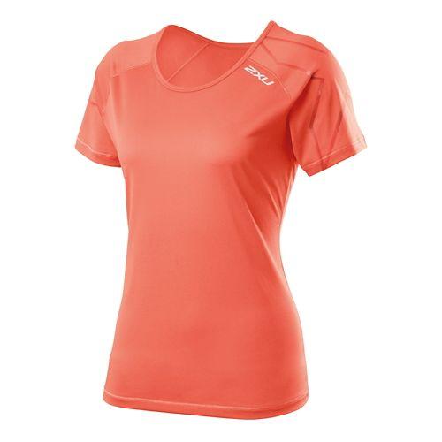 Womens 2XU GHST Short Sleeve Technical Tops - Sunset Orange S