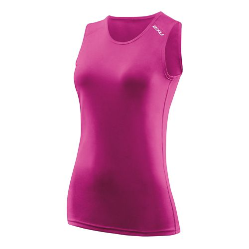 Womens 2XU GHST Singlet Sleeveless Technical Tops - Magenta/Magenta S