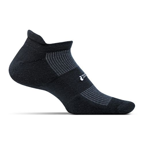 Feetures High Performance Cushion No Show Tab Socks - Black L