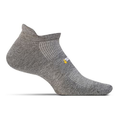 Feetures High Performance Cushion No Show Tab Socks - Heather Grey M
