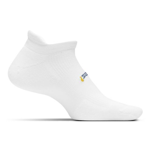 Feetures High Performance Cushion No Show Tab Socks - White L