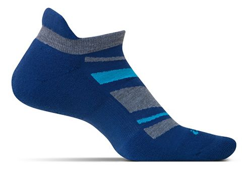Feetures High Performance Cushion No Show Tab Socks - Navy Pattern M