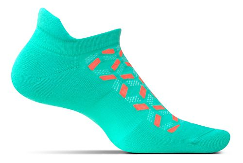 Feetures High Performance Cushion No Show Tab Socks - Turquoise Print M