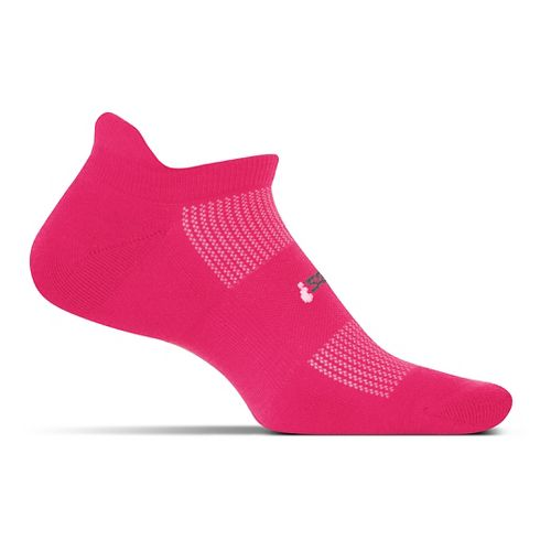 Feetures High Performance Cushion No Show Tab Socks - Deep Pink S