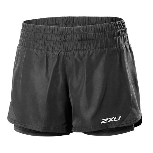 Womens 2XU Pace Compression 2 in 1 Shorts - Black/Black M