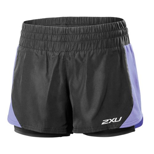 Womens 2XU Pace Compression 2 in 1 Shorts - Black/Amethyst XL