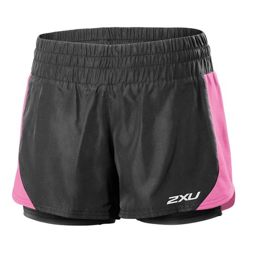 Womens 2XU Pace Compression 2 in 1 Shorts - Black/Musk XL