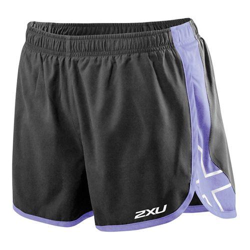 Womens 2XU X Stride Lined Shorts - Black/Amethyst L